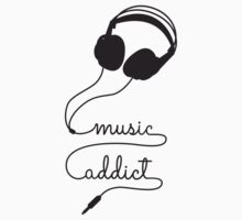 music addict with headphone Kids Clothes