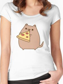 Pupsheen Eating Pizza Women's Fitted Scoop T-Shirt