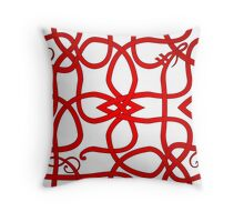 Red VIking Knot Over White Throw Pillow