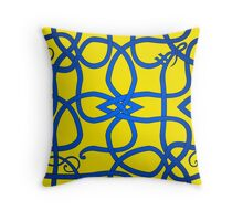 Blue Viking Knot Over Yellow Throw Pillow