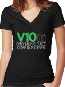 V10 - Only milk & juice come in 2 litres (3) Women's Fitted V-Neck T-Shirt
