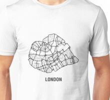 London Heart – hand drawn map of central London (black) Unisex T-Shirt