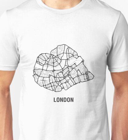 London Heart – hand drawn map of central London (black) Unisex T-Shirt