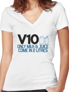 V10 - Only milk & juice come in 2 litres (4) Women's Fitted V-Neck T-Shirt