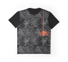 Halloween Spider Web Pattern Graphic T-Shirt