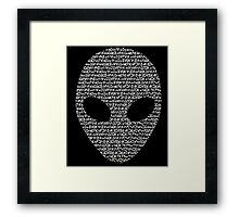 Alien Aurebesh- white version Framed Print