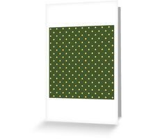 Pattern with golden polka dots on green background Greeting Card