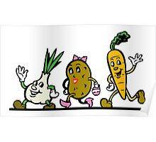 VEGGIES, Vegetables, Vegitarian, Veegan, Veg, Cartoon, fun, funny Poster
