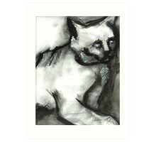Figure Drawing of a Scary Cat Art Print