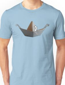 PAPER BOAT WITH DRAKKAR FIGUREHEAD AND STERN AND ITS FRIENDLY VIKING - black n' white Unisex T-Shirt
