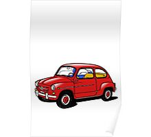 fiat 600 red Poster