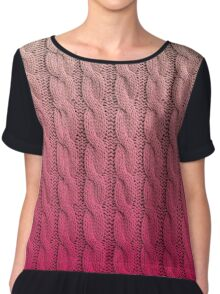 Flamingo Sunset Chunky Knit Chiffon Top