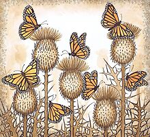 Monarch Butterflies and Spear Thistles by Vicky Pratt