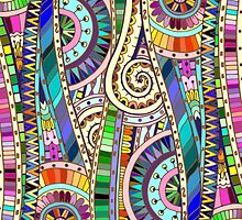 Abstract mosaic rainbow flowers by Julia Snegireva