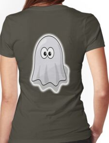 Ghost, Cute, Cartoon, Spook, Halloween Womens Fitted T-Shirt