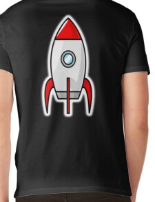 Rocket, Moon Rocket, Cartoon, 1950s Mens V-Neck T-Shirt