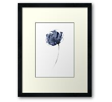 Peony Watercolor Painting Blue Flower Illustration Image Poster Framed Print