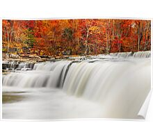 Flowing Water and Fall Leaves Poster