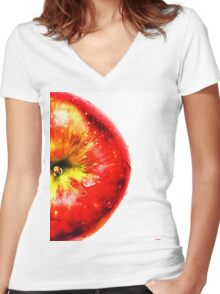 Apple Fruit Women's Fitted V-Neck T-Shirt