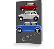 Classic Mini Cooper red white and blue Greeting Card