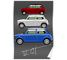 Classic Mini Cooper red white and blue Poster