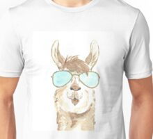 Llama Aviator Watercolor Unisex T-Shirt