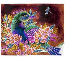 Paradise Bird in Blossoms Poster