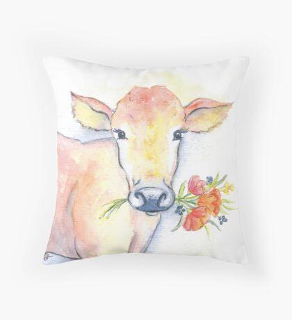 Farm house cow watercolor Throw Pillow