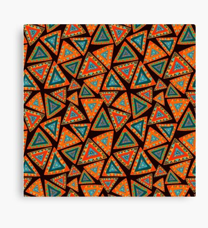 Seamless pattern with hand drawn triangles, colorful, in ethnic style Canvas Print