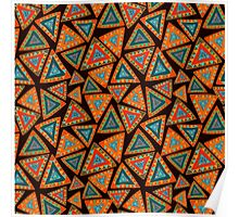 Seamless pattern with hand drawn triangles, colorful, in ethnic style Poster