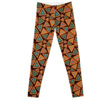 Seamless pattern with hand drawn triangles, colorful, in ethnic style Leggings