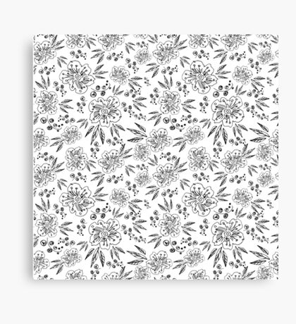 Hand drawn seamless vector pattern with flowers Canvas Print