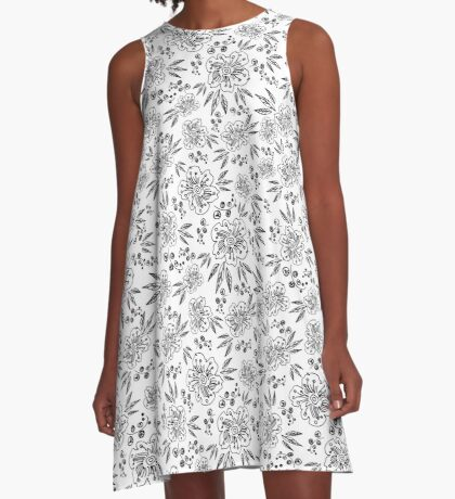 Hand drawn seamless vector pattern with flowers A-Line Dress