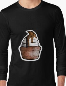 chocolate muffin with whipped cream Long Sleeve T-Shirt