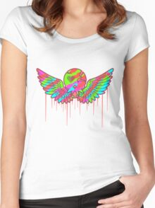 Wing Rainbow Skull Women's Fitted Scoop T-Shirt