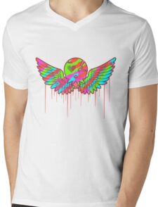 Wing Rainbow Skull Mens V-Neck T-Shirt