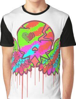Wing Rainbow Skull Graphic T-Shirt