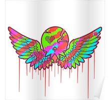 Wing Rainbow Skull Poster