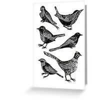 Bird Collection Lino Prints Greeting Card