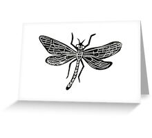 Dragonfly Insect Lino Print Greeting Card