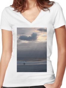Lone Surfer Long Beach, NY Women's Fitted V-Neck T-Shirt