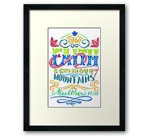 Words about God, faith.  Framed Print