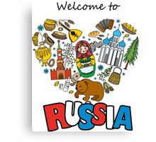 Welcome to Russia. Russian symbols, travel Russia Canvas Print