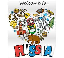 Welcome to Russia. Russian symbols, travel Russia Poster