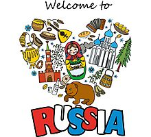 Welcome to Russia. Russian symbols, travel Russia Photographic Print