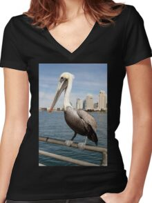 San Diego Pelican Women's Fitted V-Neck T-Shirt