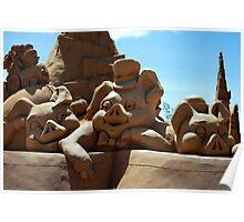 Three Little Pigs sand sculpture. Poster