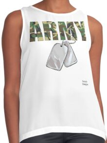 Army Camouflage w/ Dog Tags Military Contrast Tank
