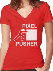 PIXEL PUSHER - Alternate Women's Fitted V-Neck T-Shirt