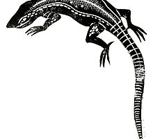 Common Lizard Lino Print by Hazel Partridge